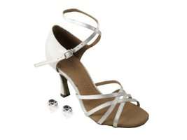 "Very Fine Ladies Women Ballroom Dance Shoes EKSA1606 Ivory Satin 2.5"" He... - $65.95"