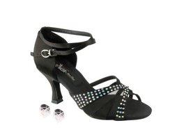 "Very Fine Ladies Women Ballroom Dance Shoes EKCD2805 Black Satin 2.5"" Heel (6M) - $79.95"
