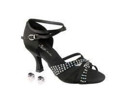 "Very Fine Ladies Women Ballroom Dance Shoes EKCD2805 Black Satin 2.5"" He... - $79.95"