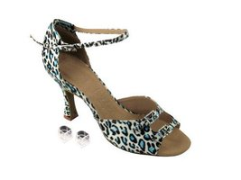 "Very Fine Ladies Women Ballroom Dance Shoes EKSA1620 Blue Leopard & Stone 3"" ... - $65.95"