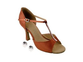 "Very Fine Ladies Women Ballroom Dance Shoes EKSA1609 Dark Tan Satin 2.5"" Heel... - $65.95"