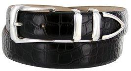 Vins Italian Calfskin Leather Designer Dress Belts for Men (32, Alligator Black) - $29.20