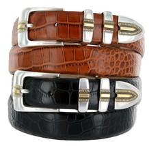 Carmelo Italian Calfskin Leather Designer Dress Golf Belt for Men (52, Alliga... - $29.20
