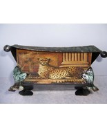 """VINTAGE CHARMING VERDI FINISH FOOTED METAL CONTAINER CHEETAH 6.5""""W x 5.2... - $55.00"""