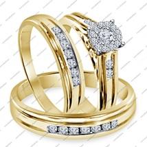 1.30 Ct Round Cut 14K Gold Fn. 925 Silver Trio Wedding Engagement Trio R... - $155.99