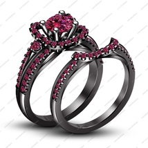 Pure 925 Silver 14k Black Rhodium Fn Pink Sapphire Engagement Bridal Ring Set - $112.26