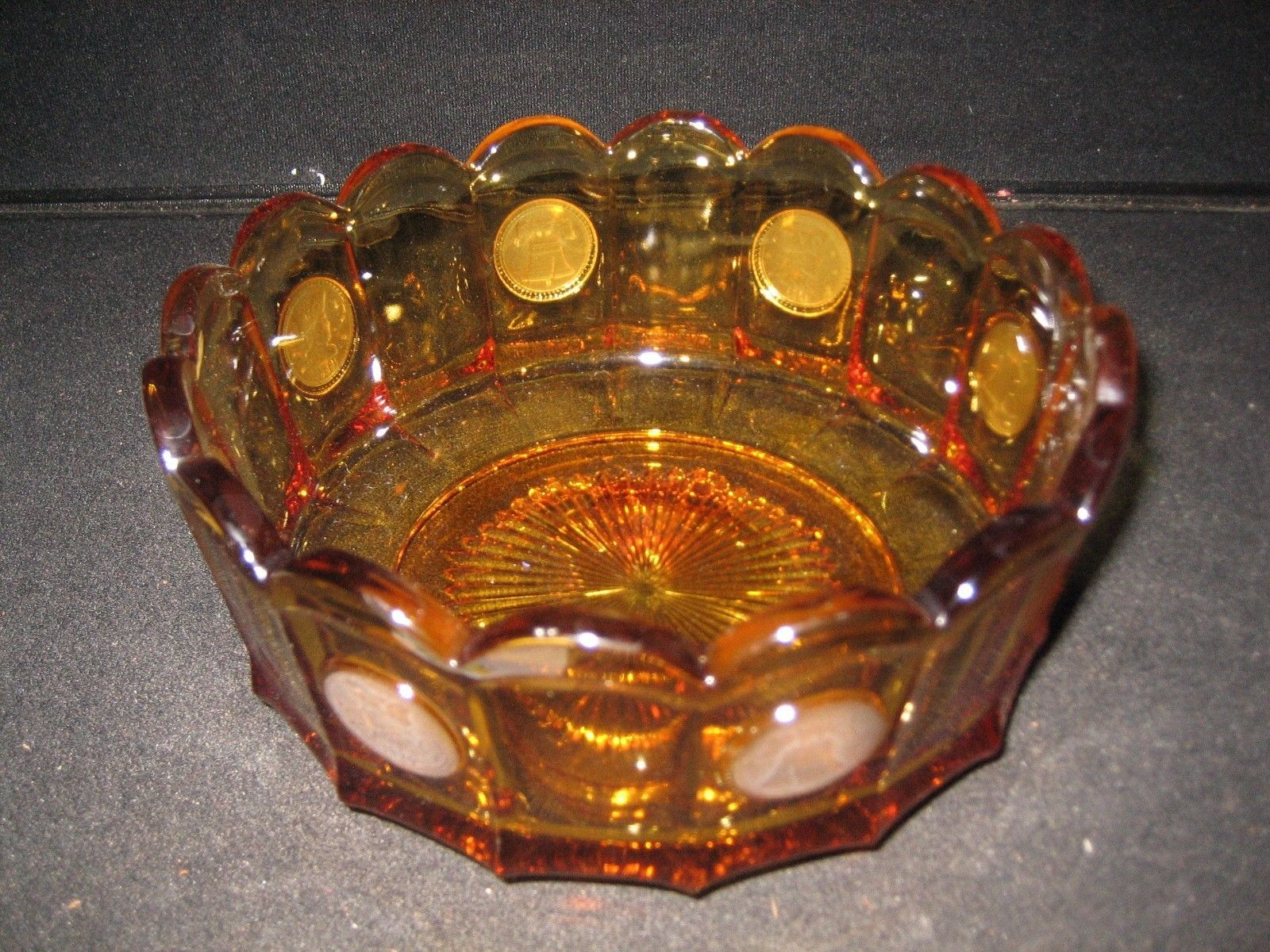 Fostoria Amber Coin Dot 6 1/2` Covered Candy Dish  Mint Condition