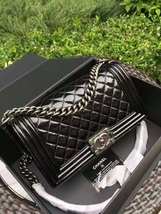 100% AUTH Chanel Boy Medium Large Quilted Black Lambskin Flap Bag SHW