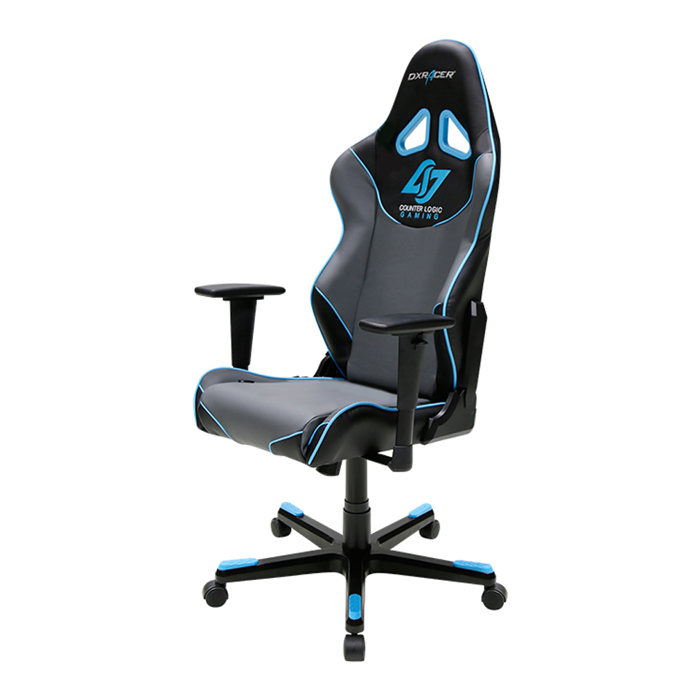 dxracer oh re129 ngb clg high back racing seat gaming chair pu black gray blue chairs. Black Bedroom Furniture Sets. Home Design Ideas