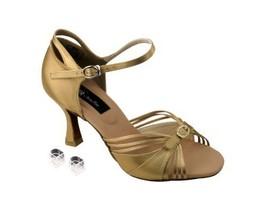 "Very Fine Ladies Women Ballroom Dance Shoes EKCD2166 Tan Satin 3"" Heel (5M) - $79.95"