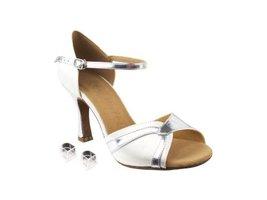 Very Fine Ladies Women Ballroom Dance Shoes EKSERA3710 White Satin & Sil... - $65.95