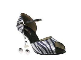 "Very Fine Ladies Women Ballroom Dance Shoes EKCD3009 Silver Zebra 3"" Silver P... - $79.95"
