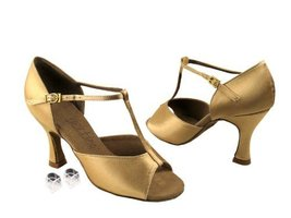 Ladies Women Ballroom Dance Shoes for Latin Salsa Tango C1609 Tan Satin ... - $75.95
