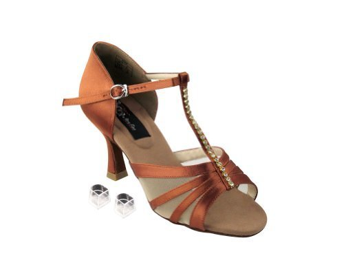 "Primary image for Very Fine Ladies Women Ballroom Dance Shoes EKCD2050 Dark Tan Satin 3"" Heel (8M)"