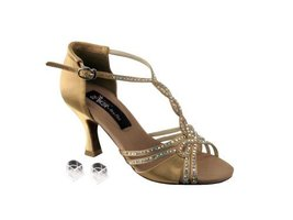 "Very Fine Ladies Women Ballroom Dance Shoes EKCD2801 Tan Satin 3"" Heel (... - $79.95"