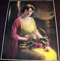 Vintage Lady With Basket of Roses Art Print, 1930's - $9.99