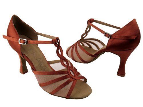 "Primary image for Ladies' Latin Rhythm Salsa SERA1692 Dark Tan Satin & FM 2.5"" Heel (7.5)"