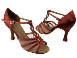 "Ladies' Latin Rhythm Salsa SERA1692 Dark Tan Satin & FM 2.5"" Heel (7.5) - $65.95"