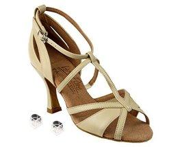 "Very Fine Ladies Women Ballroom Dance Shoes EKS1002 Beige Leather 3"" Heel (4.5M) - $75.95"