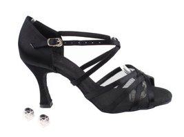 Very Fine Ladies Women Ballroom Dance Shoes EKSA1605 Black Satin & Black Mesh... - $65.95