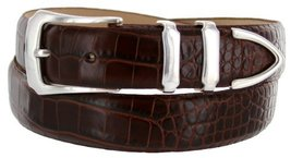 Vins Italian Calfskin Leather Designer Dress Belts for Men (36, Alligator Brown) - $29.20