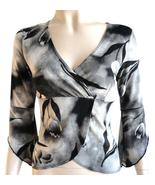 Angela black & white floral top size small faux wrap flare bell sleeves ... - $6.95