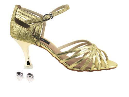 "Primary image for Very Fine Ladies Women Ballroom Dance Shoes EKCD3012 Gold & Gold Stardust 3"" ..."