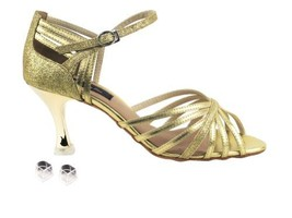 Very Fine Ladies Women Ballroom Dance Shoes EKCD3012 Gold & Gold Stardus... - $79.95