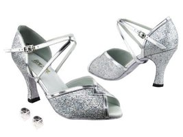 Very Fine Ladies Women Ballroom Dance Shoes EK2721 Silver Sparklenet & S... - $64.95