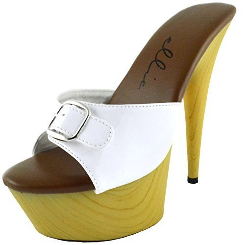 Women's 6 Inch Pointed Heel Mule With Buckle (White;12)