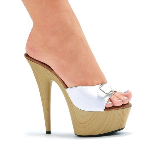 """609-BARBARA, Color: WHITE, Women's US Size 9 / 6"""" Pointed Heel Mule W/Buckle."""