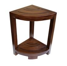 ALA TEAK Corner Teak Wood Bath Spa Shower Stool Corner Table Fully Assem... - $92.57