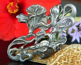 Vintage William Kerr Art Nouveau Flower Brooch Sterling Silver 1569 - $195.95