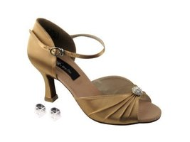 "Very Fine Ladies Women Ballroom Dance Shoes EKCD2178 Tan Satin 2.5"" Heel... - $79.95"