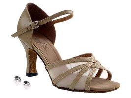Very Fine Ladies Women Ballroom Dance Shoes EK6027 Tan Leather & Flesh M... - $64.95