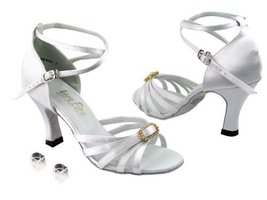 Very Fine Ladies Women Ballroom Dance Shoes EK6005 White Satin & Stone 3... - $64.95