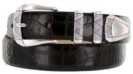 Martin Italian Calfskin Leather Designer Dress Belts for Men (50, Alligator B... - $29.20
