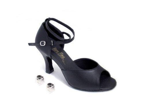 "Very Fine Ladies Women Ballroom Dance Shoes EK6012 Black Satin 3"" Heel (9M) image 2"