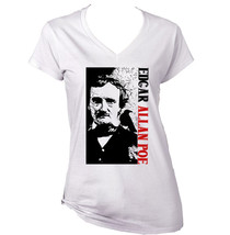 Edgar Allan Poe Poet 1 - New White Cotton Lady Tshirt - $24.80