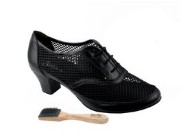"Very Fine Ladies Women Ballroom Dance Shoes EKCD1108 Black Leather 2"" He... - $79.95"