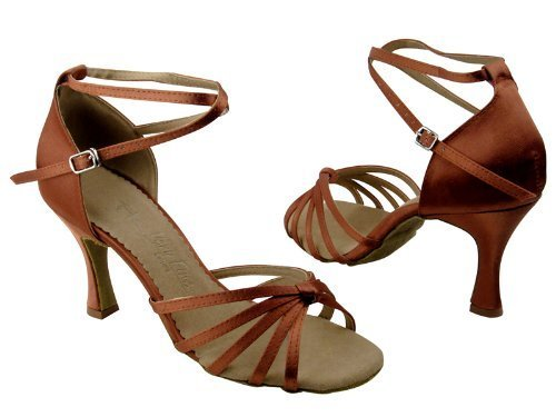 "Primary image for Ladies' Latin Rhythm Salsa SERA6005 Dark Tan Satin 2.5"" Heel (7.5)"