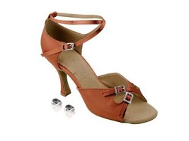 "Very Fine Ladies Women Ballroom Dance Shoes EKSERA1153 Dark Tan Satin 3"" Heel... - $65.95"