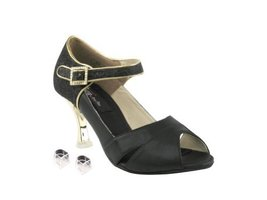 Very Fine Ladies Women Ballroom Dance Shoes EKCD3010 Black & Black Stard... - $79.95