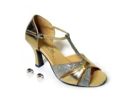 Very Fine Ladies Women Ballroom Dance Shoes EK6016 Gold Leather & Gold S... - $64.95