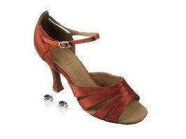 "Very Fine Ladies Women Ballroom Dance Shoes EKSA1680 Dark Tan Satin 2.5"" Heel... - $65.95"