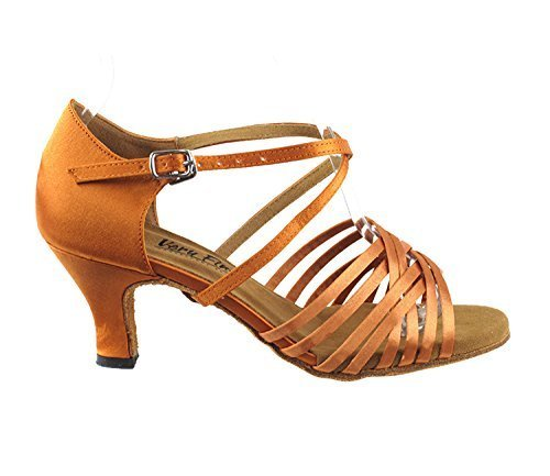 Very Fine Ladies Women Ballroom Dance Shoes EK2784 LED Limited Dark Tan Satin...