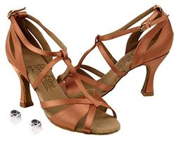 "Very Fine Ladies Women Ballroom Dance Shoes EKS1002 Tan Satin 3"" Heel (5M) - $75.95"