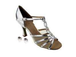 Very Fine Ladies Women Ballroom Dance Shoes EKSA1692 Silver Leather & Fl... - $65.95