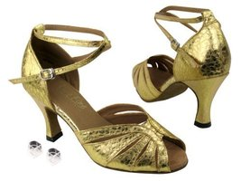 "Very Fine Ladies Women Ballroom Dance Shoes EK2713 Ultra Gold 3"" Heel (8M) - $64.95"