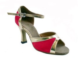 "Ladies Latin Ballroom Classic 6024 Red Satin & GT 3"" (9.5M) - $64.95"
